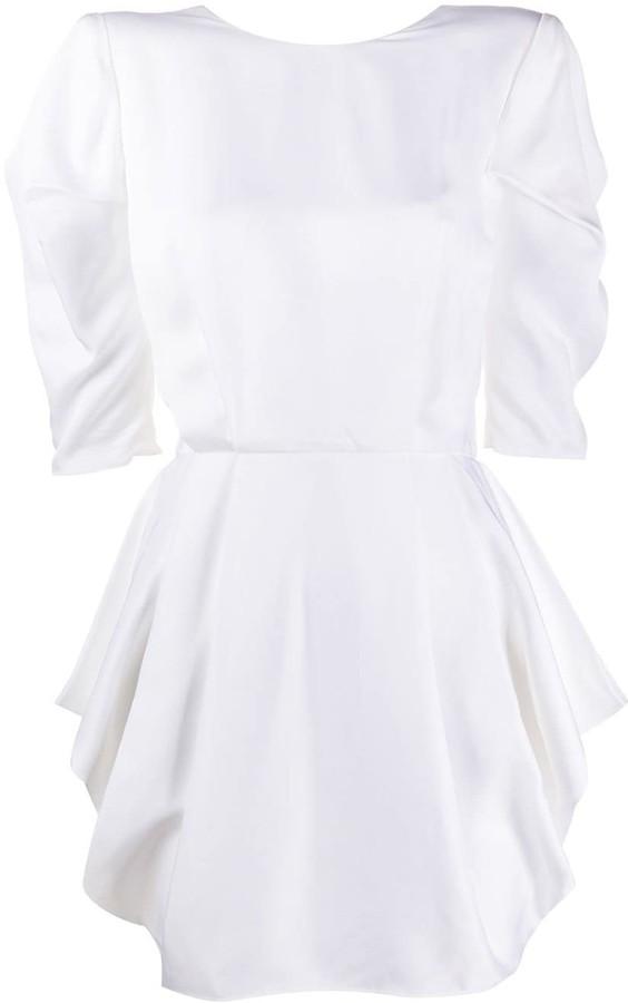 Alexandre Vauthier Short Sleeve Pleated Waist Dress
