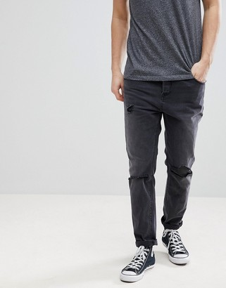 Asos Tapered Jeans In Washed Black With Faux Leather Rip & Repair