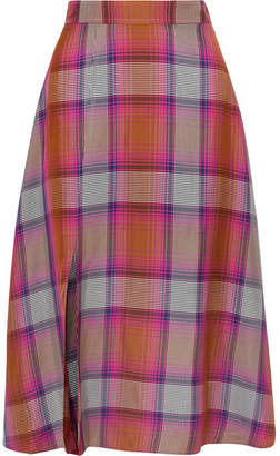ARIAS - Checked Twill Midi Skirt - Red