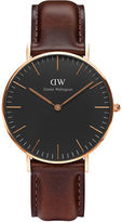 Daniel Wellington Crystal, 18K Rose Gold-Plated Leather Strap Watch