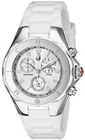 Michele Women's MWW12F000079 Tahitian Jelly Bean Stainless Steel Watch with White Silicone Band