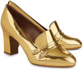 Tabitha Simmons Gold Mirrored Maxwell Block Heel Loafers