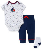 Little Me Three-Piece Anchor-Print Bodysuit, Solid Pants and Socks Set
