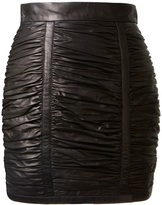 Balmain ruched lambskin mini skirt
