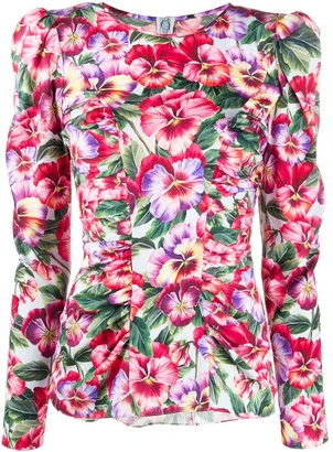 Dolce & Gabbana Violet-Print Fitted Blouse