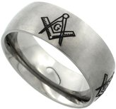 Sabrina Silver Titanium 8mm Wedding Band Masonic Ring Square & Compass Domed Brushed Finish Comfort Fit, size 7