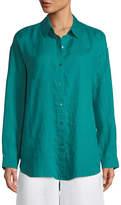 Eileen Fisher Organic Linen Boyfriend Shirt, Plus Size