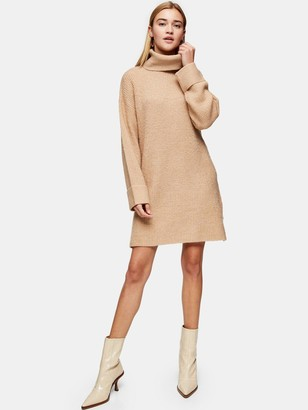 Topshop Plaited Funnel Neck Dress - Camel