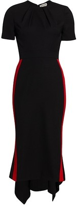 Alexander McQueen Short-Sleeve Wool Sheath Dress