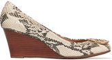 Tory Burch Sally snake-effect leather wedge pumps
