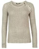 Golddigga Womens Zip Shoulder Knit Jumper Sweater Pullover Long Sleeve Crew Neck