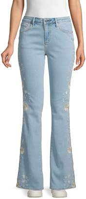 Driftwood Embroidered Floral Flared Jeans