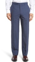 JB Britches Men's Torino Flat Front Check Wool Trousers