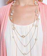 Riah Fashion Women's Necklaces Gold - Imitation Pearl & Goldtone Octagon Station Multi-Strand Necklace