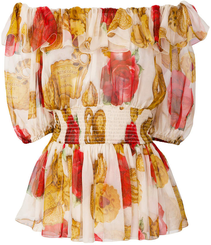 Dolce & Gabbana Cookies and Rose off the shoulder blouse