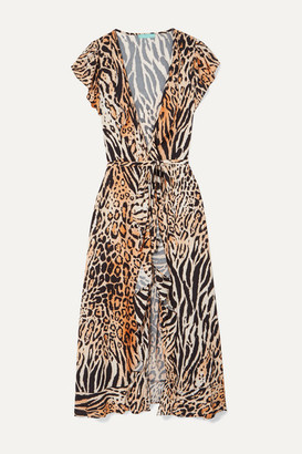 Melissa Odabash Brianna Printed Voile Wrap Dress - Leopard print