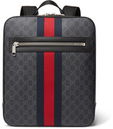 Gucci Leather-Trimmed Monogrammed Coated-Canvas Backpack