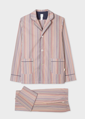 Paul Smith Men's Signature Stripe Cotton Pyjama Set With Navy Trims