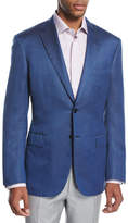 Brioni Textured Wool-Silk Two-Button Sport Coat, Blue