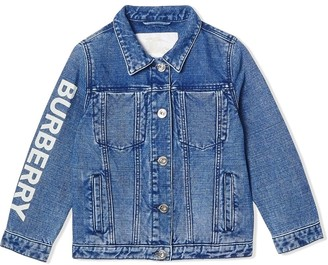BURBERRY KIDS logo print Japanese denim jacket