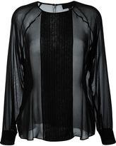 Nili Lotan pleated front ruffled blouse
