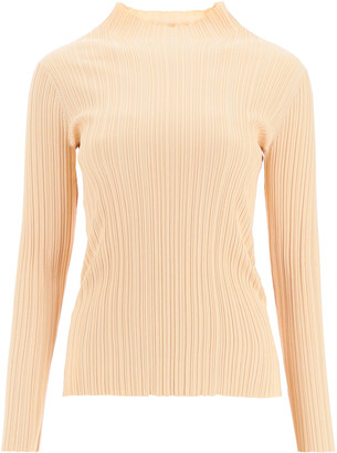 Acne Studios KATINA RIBBED MOCK NECK SWEATER M Beige Cotton