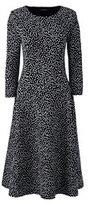 Classic Women's Plus Size 3/4 Sleeve Ponté Flounce Dress-Bavarian Creme Dots