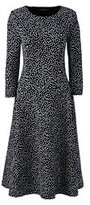 Lands' End Women's Petite 3/4 Sleeve Ponté Flounce Dress-Bavarian Creme Dots