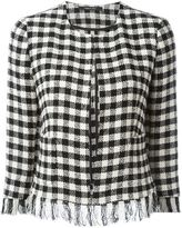 Tagliatore frayed check jacket - women - Cotton/Polyamide/Polyester/Cupro - 40