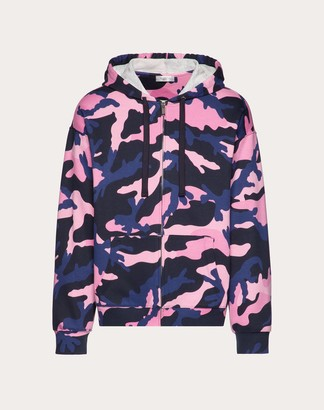 Valentino Camouflage Hooded Sweatshirt With Zipper Man Navy Camo/pink Cotton 92%, Polyamide 8% L