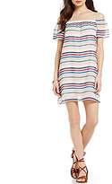 Soulmates Off-The-Shoulder Short-Sleeve Multi-Colored Striped Shift Dress