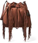 Diane von Furstenberg Voyage Boho Fringed Suede Bucket Bag - Light brown