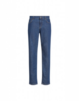Moschino Denim Trousers With Double Question Mark Man Blue Size 46 It - (30 Us)