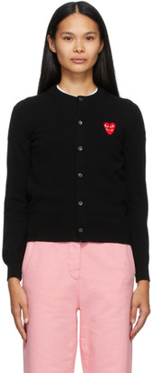 Comme des Garcons Black Wool Layered Double Heart Cardigan