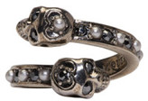 Alexander McQueen Silver Crystal & Pearl Twin Skull Ring
