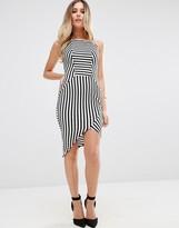 Jessica Wright Striped Pencil Dress With Asymmetric Hem