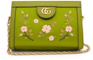 Gucci Ophidia Snake-trim Satin Cross-body Bag - Green Multi