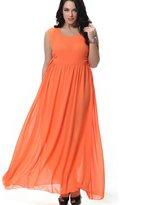 Greenis Women Summer Dress Chiffon Dress Long Sleeveless Plus Size Size 4X-Large
