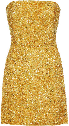 retrofete Strapless Sequined Crepe De Chine Mini Dress