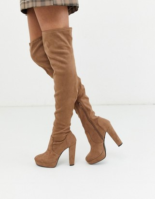 Miss Selfridge over the knee heeled boots in camel