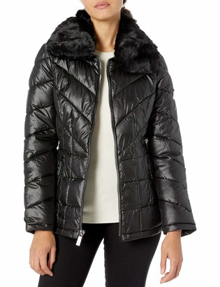 Kenneth Cole Women's Zip Front Puffer with Faux Fur Collar