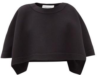Valentino Cropped Boat-neck Wool Cape - Black