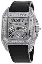 Cartier Santos 100 Xl Chronograph Diamond Dial Mens Watch