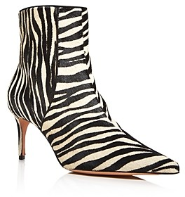 Schutz Women's Ravel Pointed Toe Zebra Print Booties