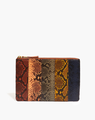Madewell The Leather Pouch Clutch: Colorblock Snake Embossed Edition