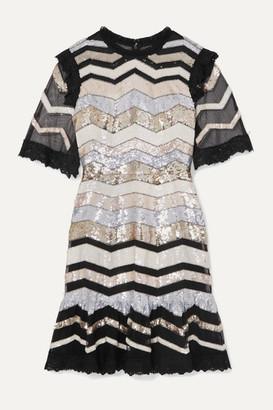 Needle & Thread Alaska Lace-trimmed Sequined Tulle Mini Dress - Black