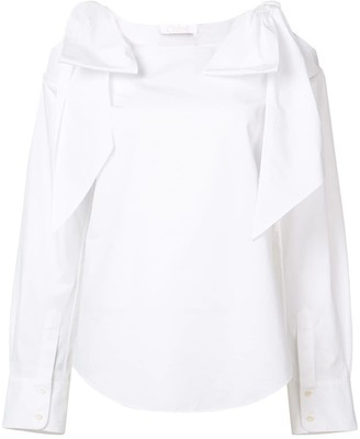 Chloé Tie Cold Shoulder Blouse