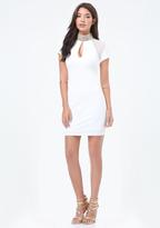 Bebe Embellished Mock Neck Dress
