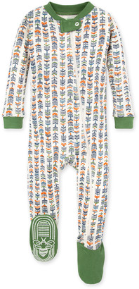 Burt's Bees Trail Markers Organic Baby Zip Front Snug Fit Footed Pajamas