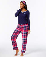 Nautica Flannel Gifting Pajama Set with Free Matching Headband